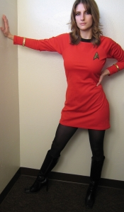 Hot girl in star fleet uniform.